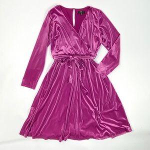 Pink Ribbed Velvet Faux Wrap Dress XL